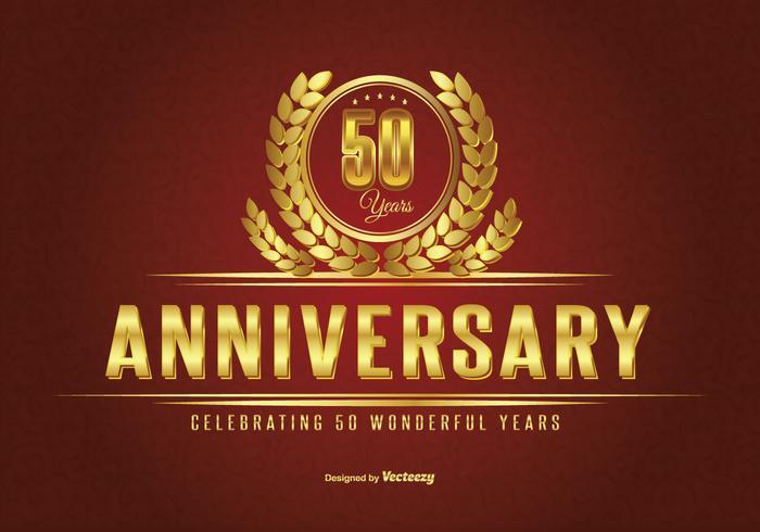 Golden Fifty Year Anniversary Illustration