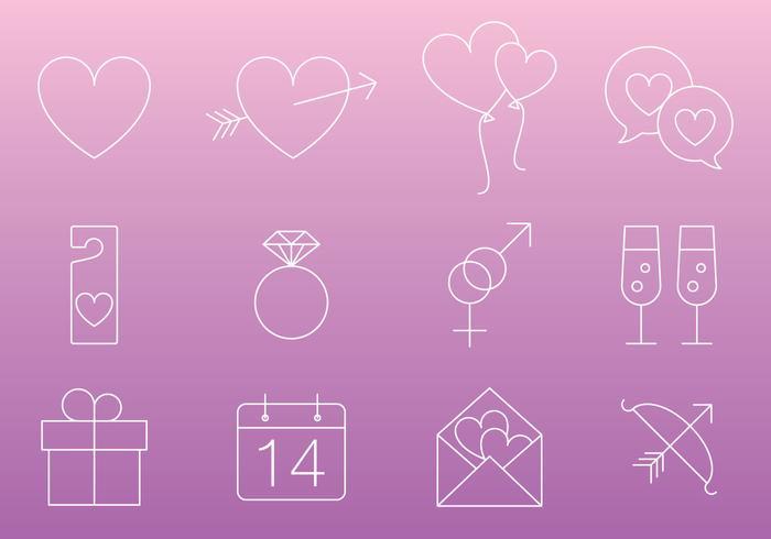 Thin Line Love Icon Vectors