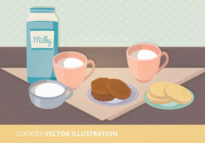 Milk and Cookies Vector Ilustration