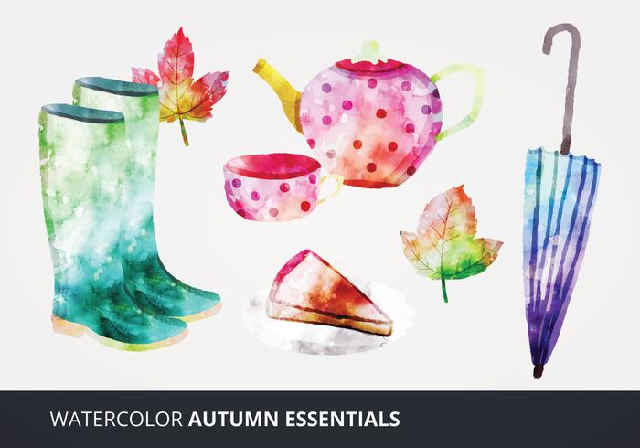 Waterverf Autumn Essentials Vectoren
