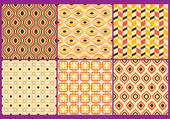 Retro Yellow & Coral Patterns