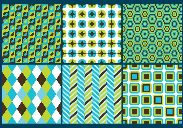 Retro Green & Blue Patterns