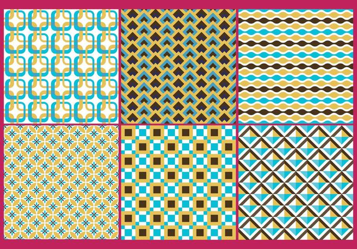 Retro Gold & Blue Patterns