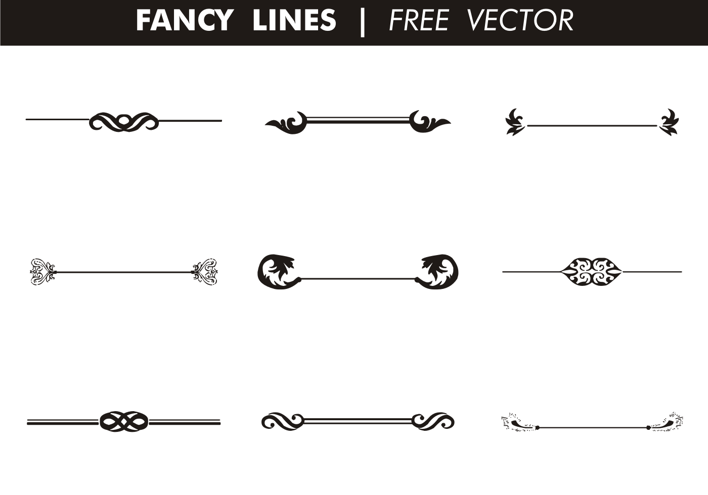 Line Drawing Vector Free : Decorative fancy lines free vector download