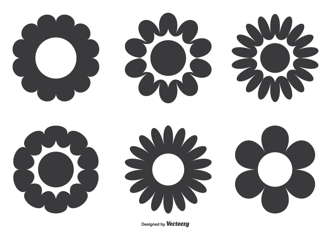 Simple Flower Shape Set Download Free Vector Art Stock Graphics