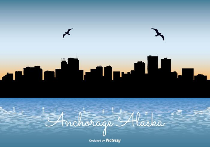 Anchorage Alaska Skyline Illustration