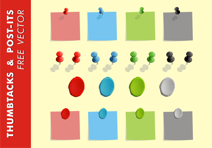 Thumb Tacks & Post-Its Vector