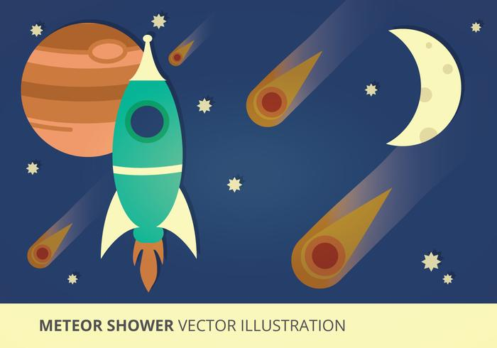 Meteor Shower Vector Illustration