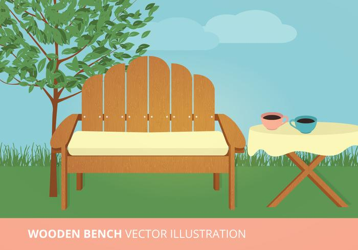 Wooden Bench Vector Illustration