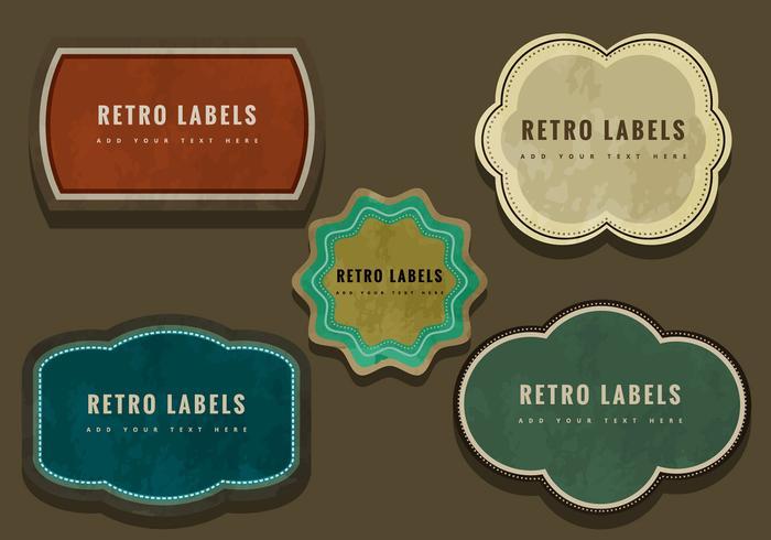 Färgglada retro etiketter