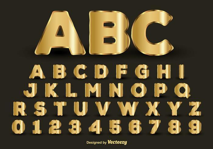 Goldenes Alphabet vektor