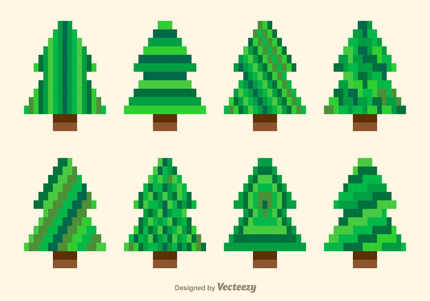 pixel green trees