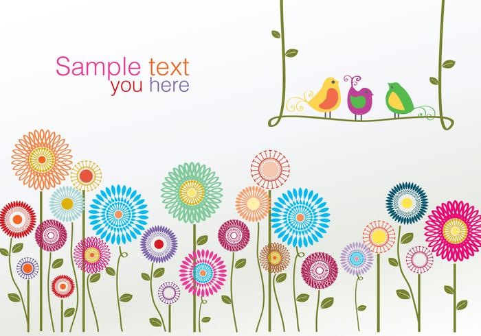 Colorful Birds and Flower Vector
