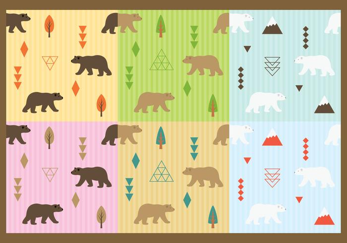 Cute Bears Pattern Vectors