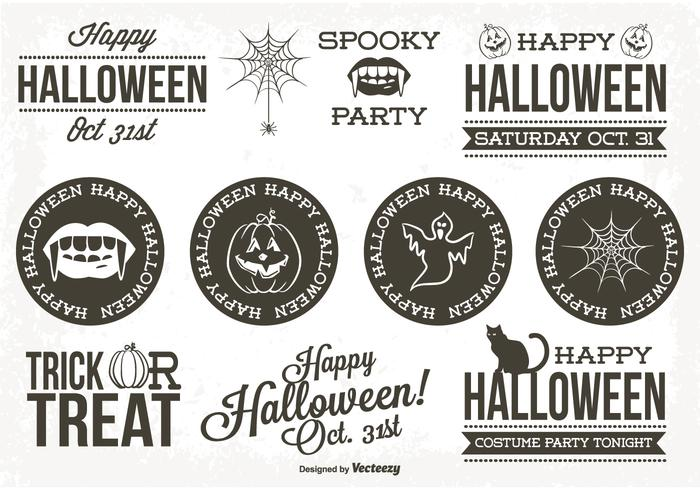 Retro Style Halloween Label Set