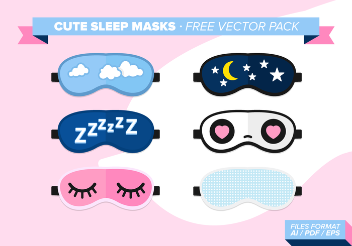Cute Sleep Maskers Gratis Vector Pack