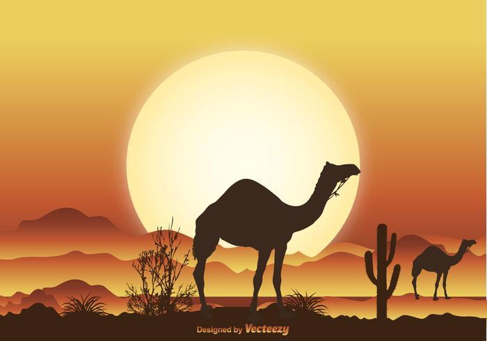 Desert Camel Scene Illustration