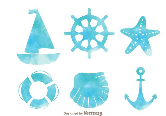 Ícones náuticos de efeitos aquarela