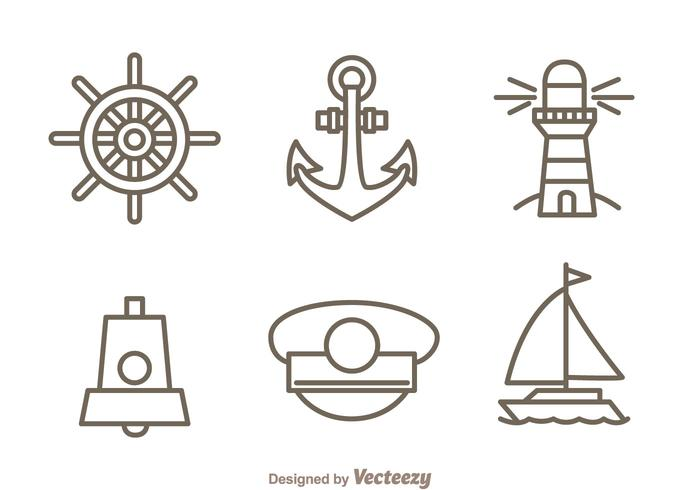 Nautical Outline Icons Set