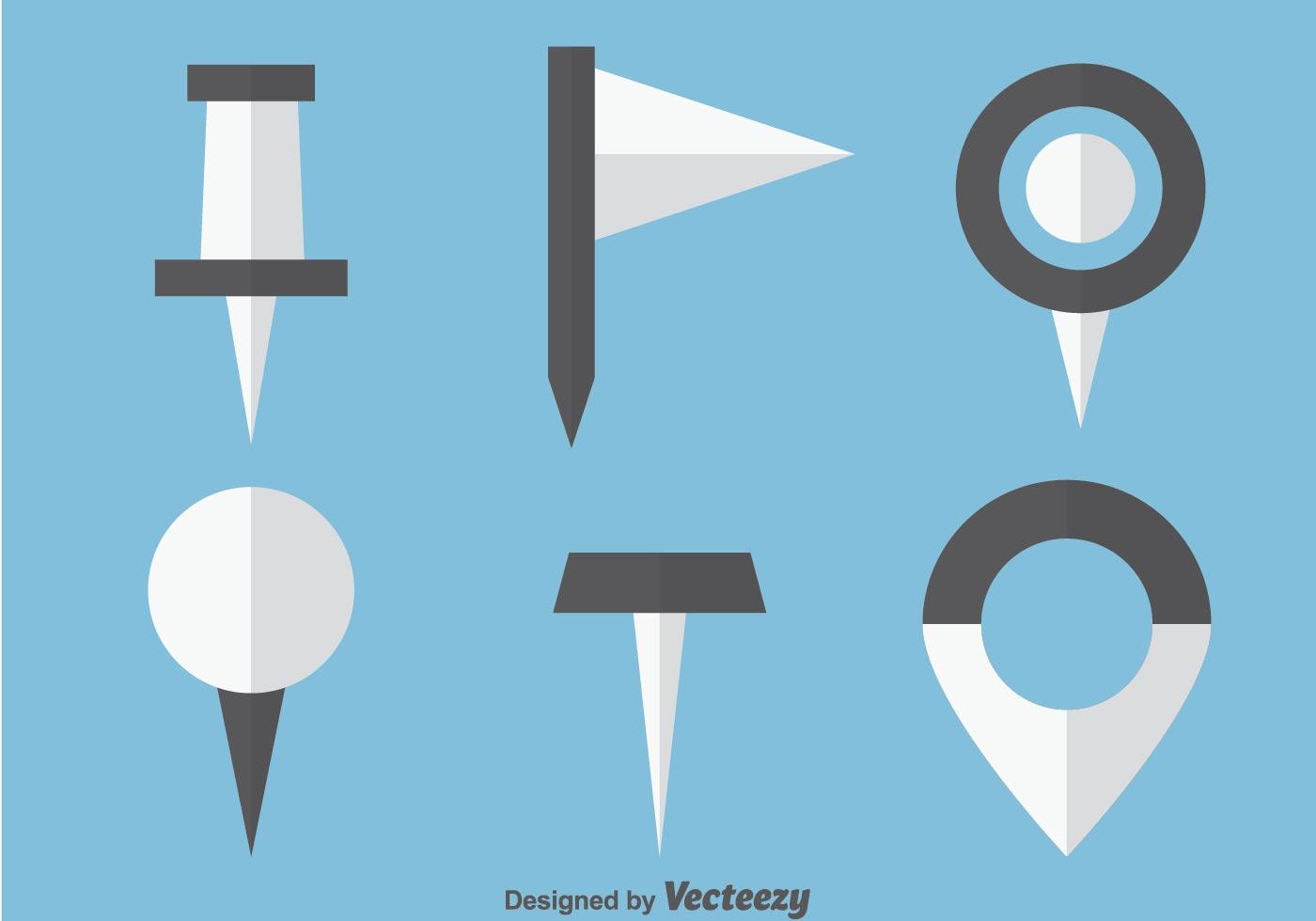 Pasador Ubicación Mapa Gráficos Vectoriales Gratis En: Iconos Planos Del Indicador De La Marca Del Vector