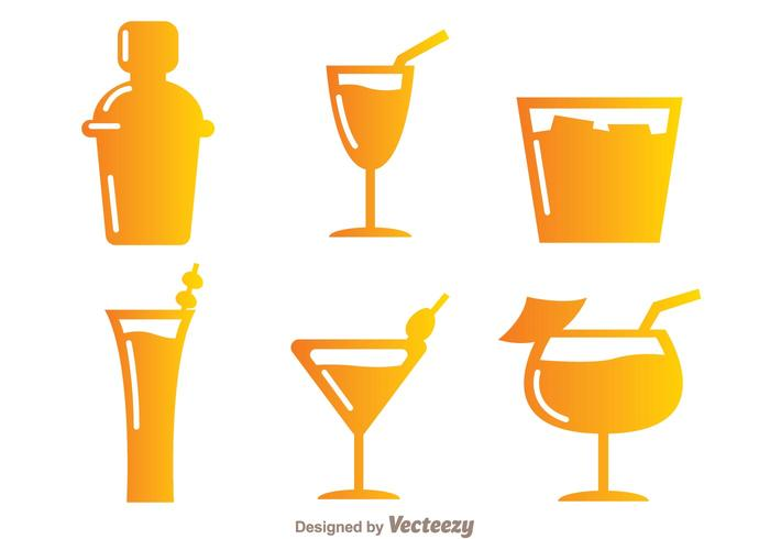 Gradient Cocktail Icons vector