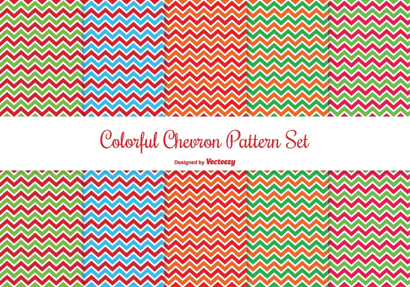 colorful chevron pattern set