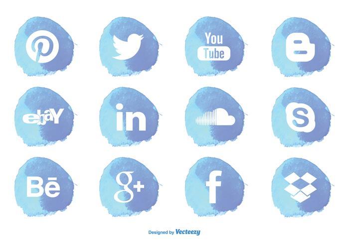 Watercolor Style Social Media Icon Set