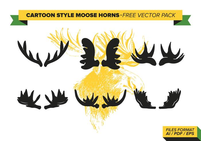 Estilo de dibujos animados alces cuernos paquete de vectores gratis