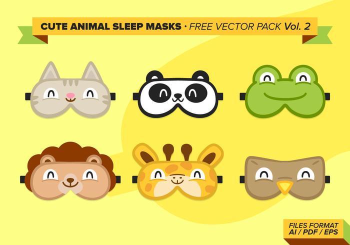 Cute Animal Sleep Máscaras Vector Pack Libre Vol 2