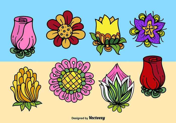 Cartoon cute flowers