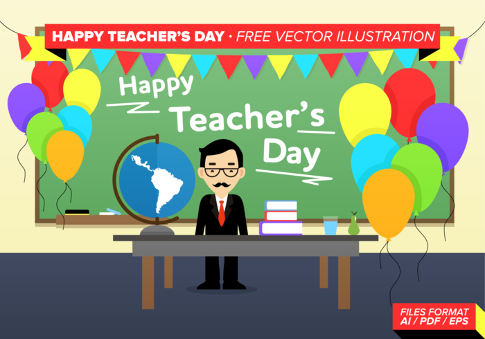 Happy Teacher's Day Free Vector Illustration