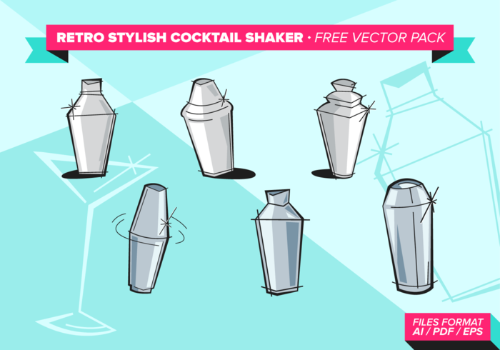 Retro Stylish Cocktail Shaker paquete de vectores gratis