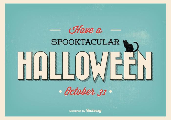 Ilustração de Halloween retro tipográfica