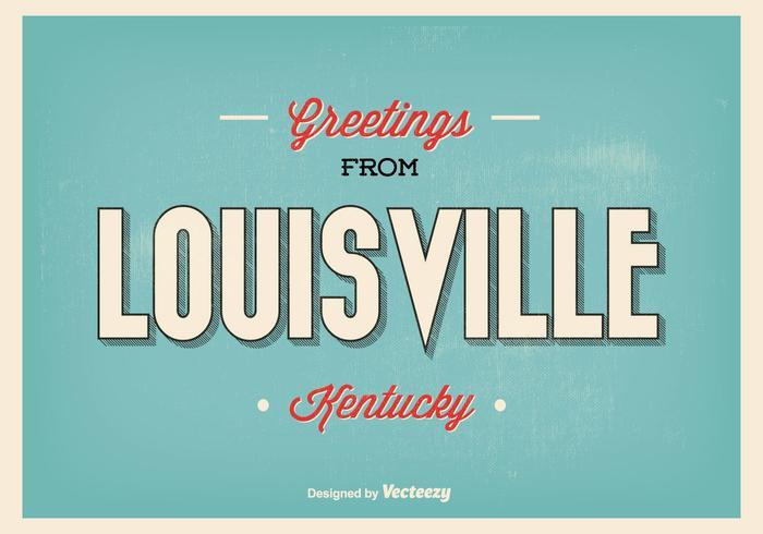 Retro Style Louisville Kentucky Greetings Illustration