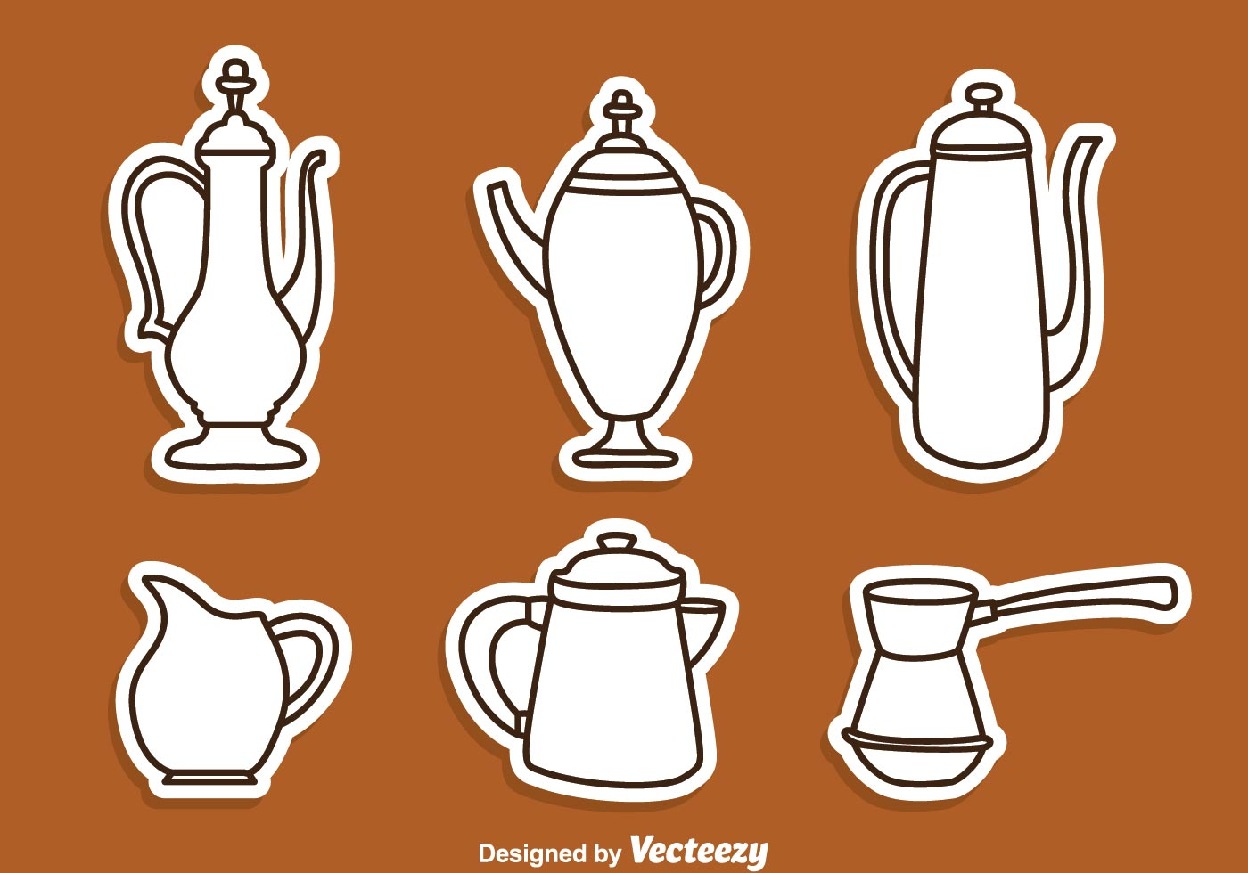 Arabic Coffee Pot Line Icons Download Free Vectors