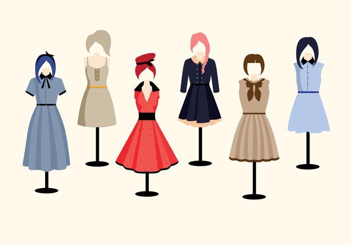 Vectores de ropa de estilo antiguo