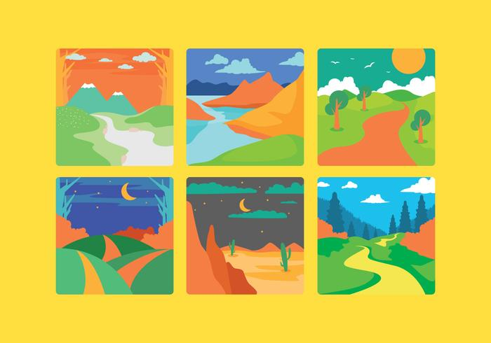 Beautiful Cartoon Landscape Vector
