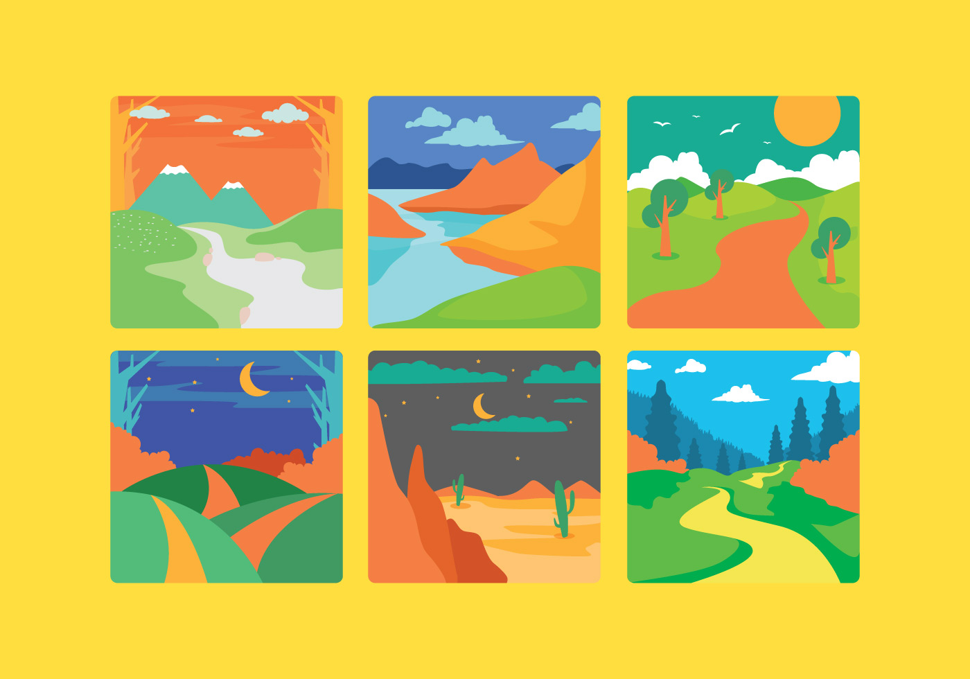 vector cartoon landscape backgroundsfree - photo #31