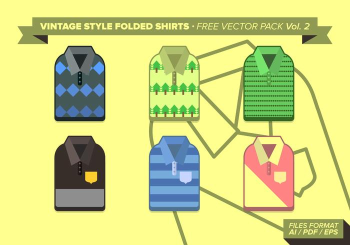 Vintage Folded Shirts Free Vector Pack Vol. 2