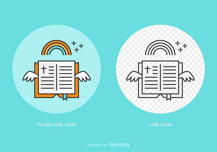 Free Open Bible Line Vector Icon