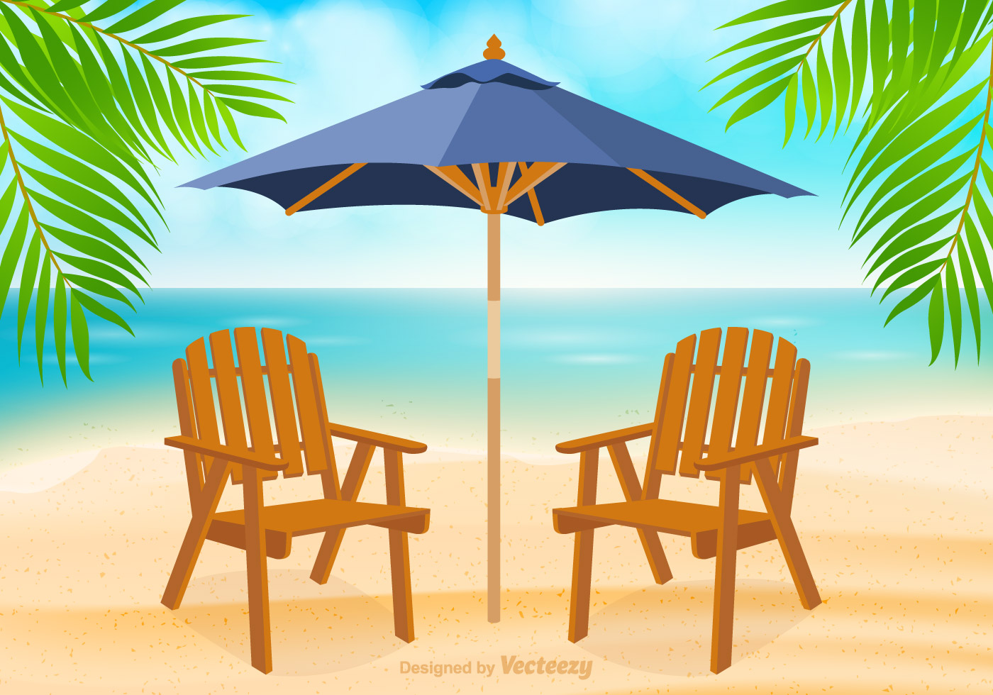 Free Adirondack Chair At Beach Vector - Download Free ...