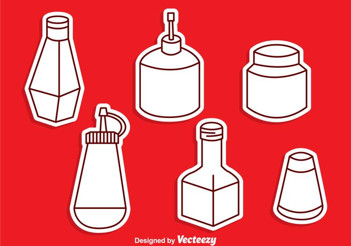Sauce Bottle Vector Set