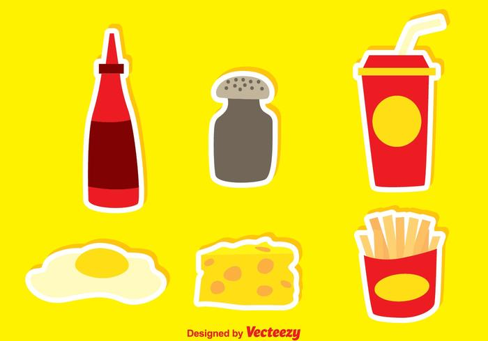 Junk Food With Pepper And Hot Sauce Icons vector