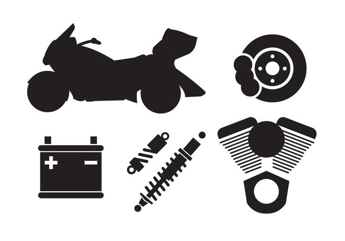 Set of Motorcycle Components in Vector
