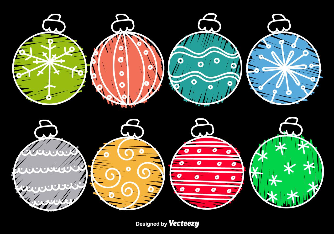 Hand drawn cartoon christmas balls download free vector
