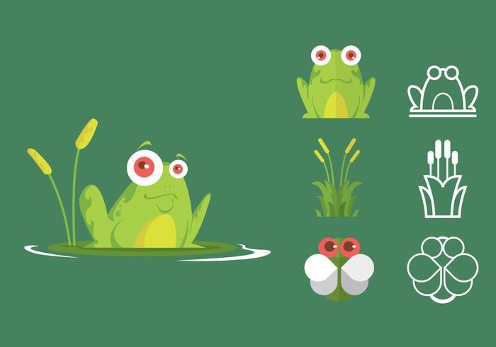 Insieme verde dell'icona della rana di albero