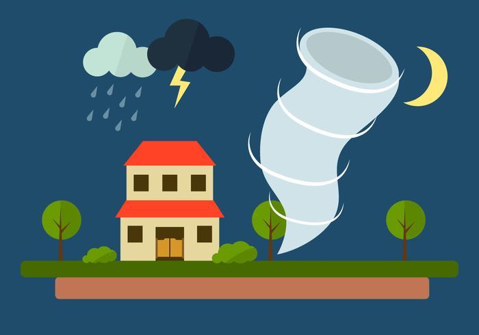 Vector Illustration of Tornado at Village