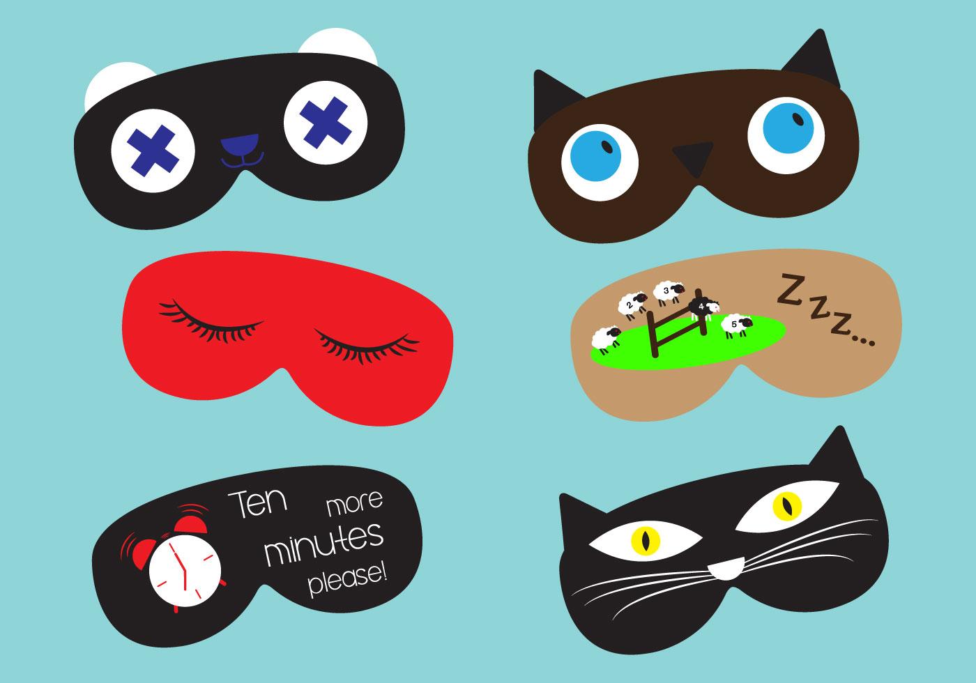 Set Of Sleep Masks In Vector Download Free Vector Art