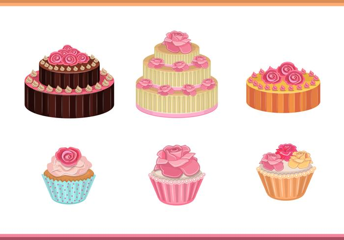 Cake with roses vectors