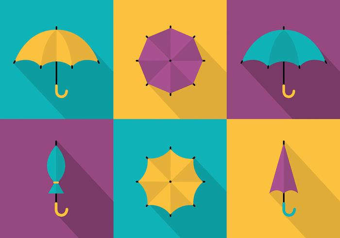 Free Set of Colorful Umbrellas Vector Background
